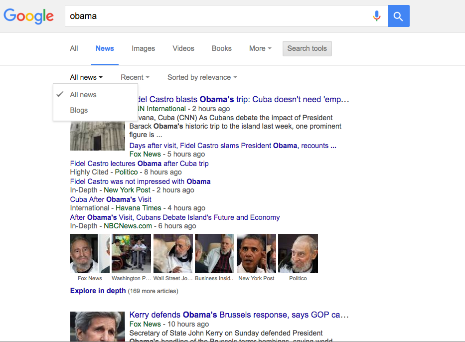 Google News Blog Search
