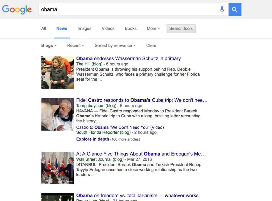 Google News Blog Only Results
