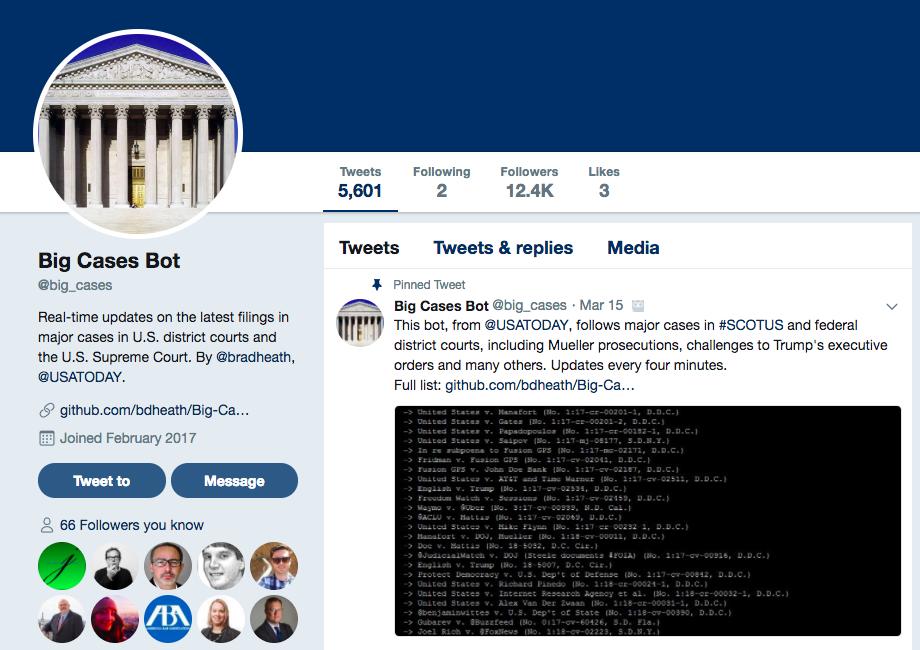 Twitter Big Case Bot - PACER Robot