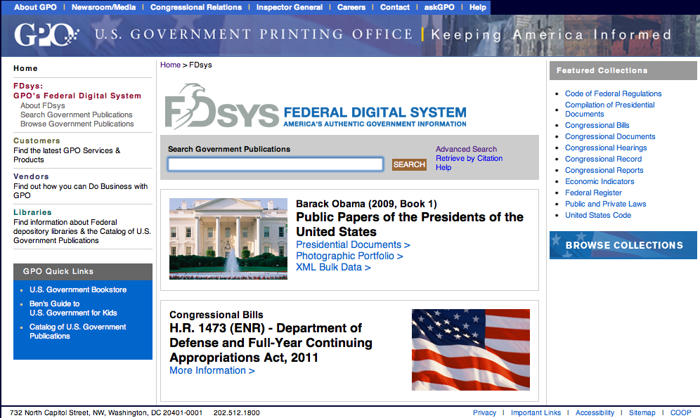 FDSys home page