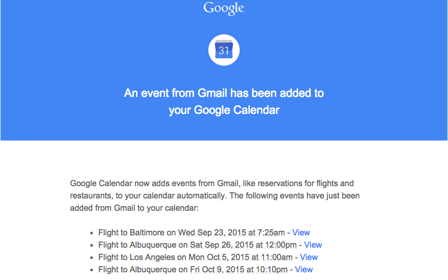 events from gmail initial message