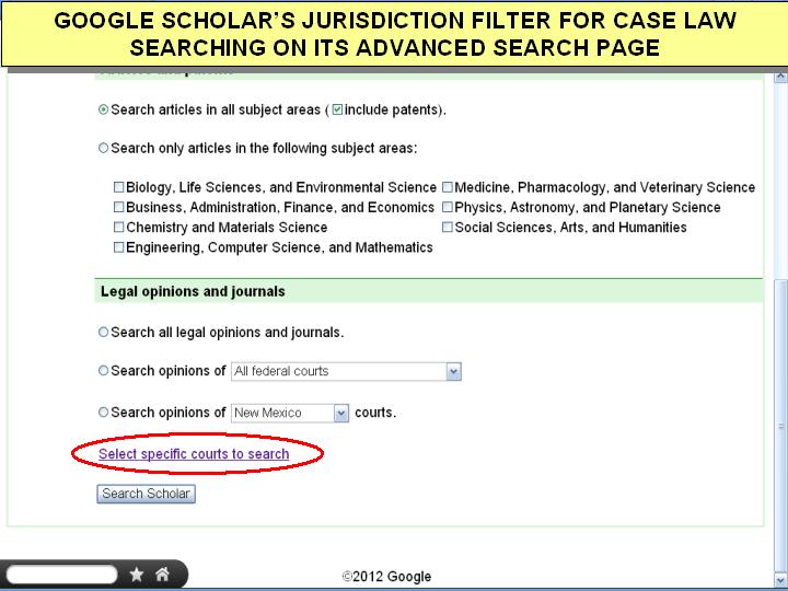 google scholar advanced search access case law jurisdictions