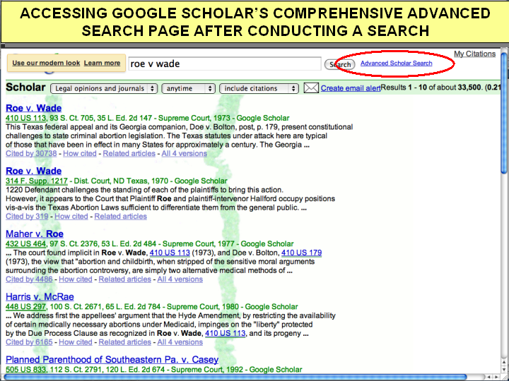 google scholar advanced searchlink