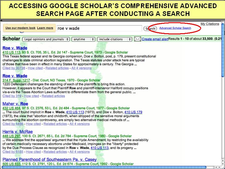 google scholar advanced searchlink