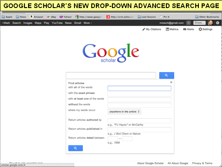 google scholar advanced search drop down
