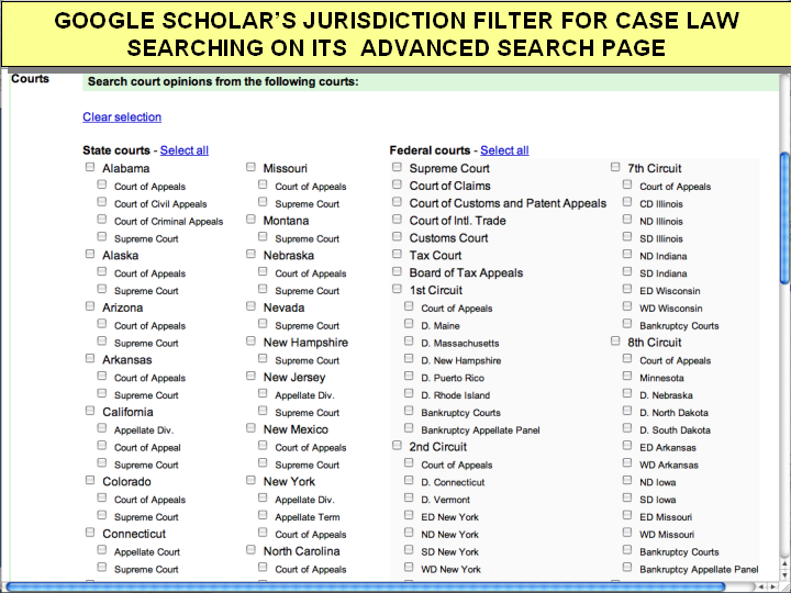 google scholar advanced search caselaw jurisdictions