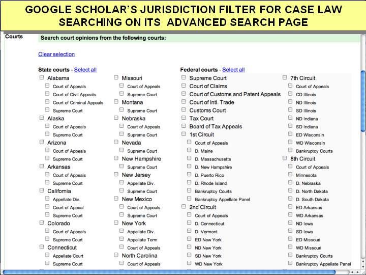 google scholar advanced search caselaw jurisdictions