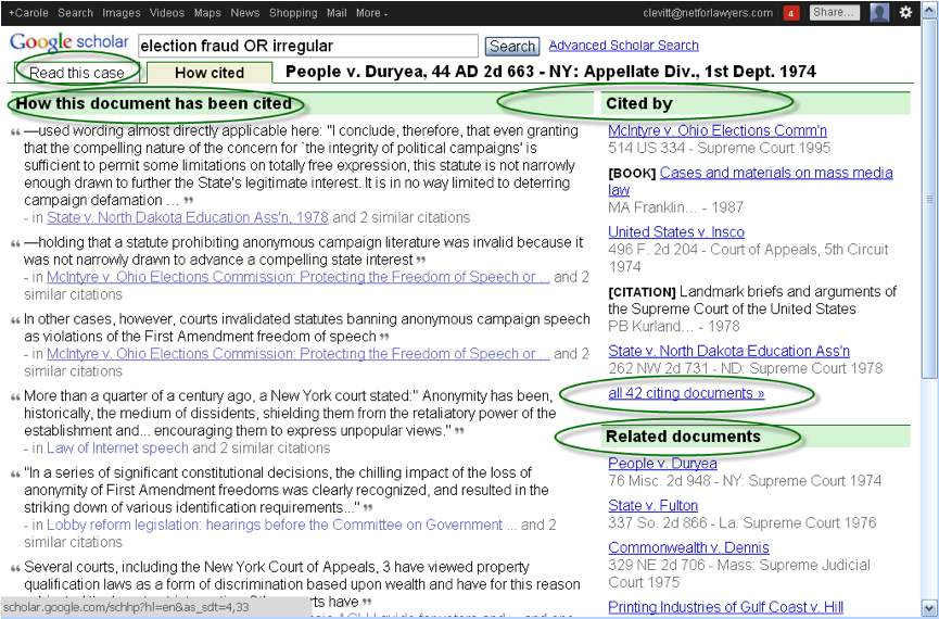 Google Scholar Caselaw Citations