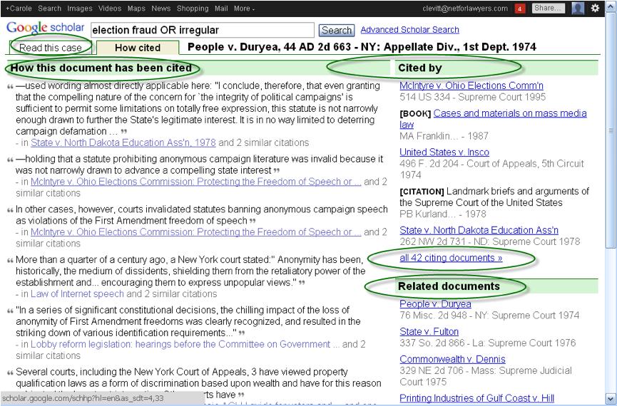 Google Scholar Caselaw Citations