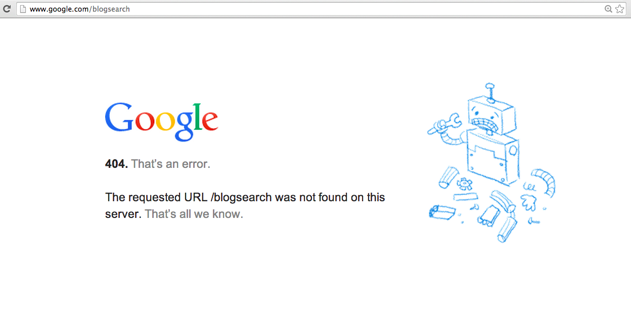 Google Kills Blogsearch Database