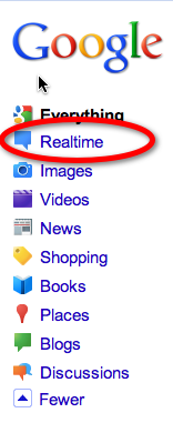 Google left-hand sidebar now includes realtime label