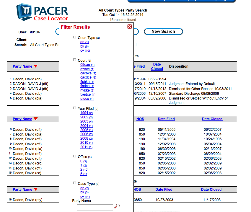 Is PACER Testing New Filters in its Case Locator Search