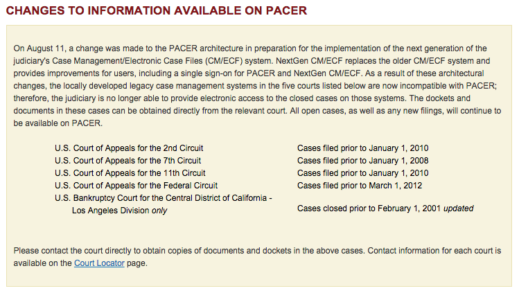 Removed documents coming back to PACER
