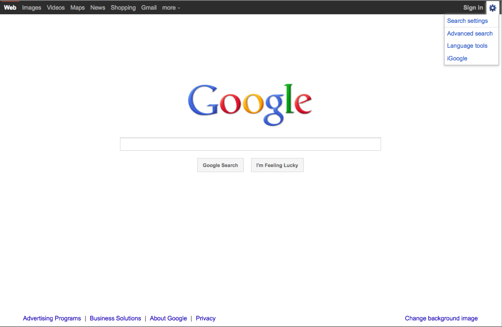 Goggle HomePage Redesign Hides Advanced Search