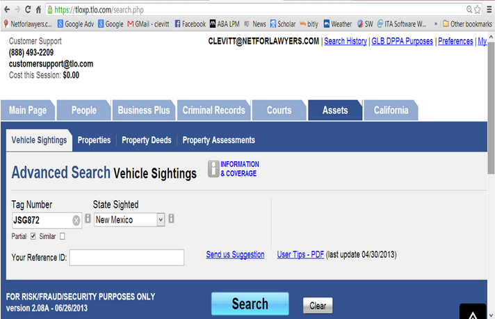 Investigative Research Database TLO Offers Vehicle Sightings