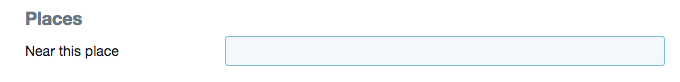 Twitter Near This Place search box