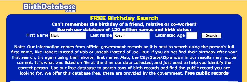 free birthday lookup database Is Birthdatabase.Gone Forever? | Update   BackAnd Now Gone  free birthday lookup database