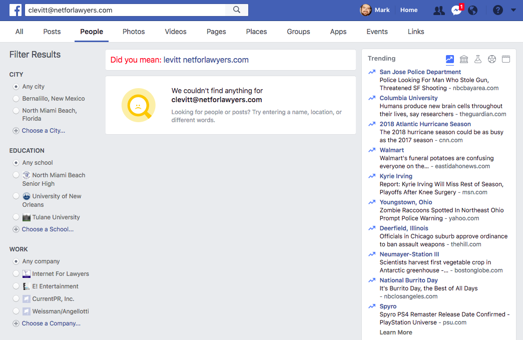 Facebook kills email search for profiles