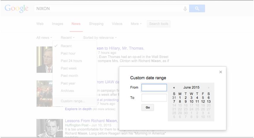 Google News Nixon Search Custome Range