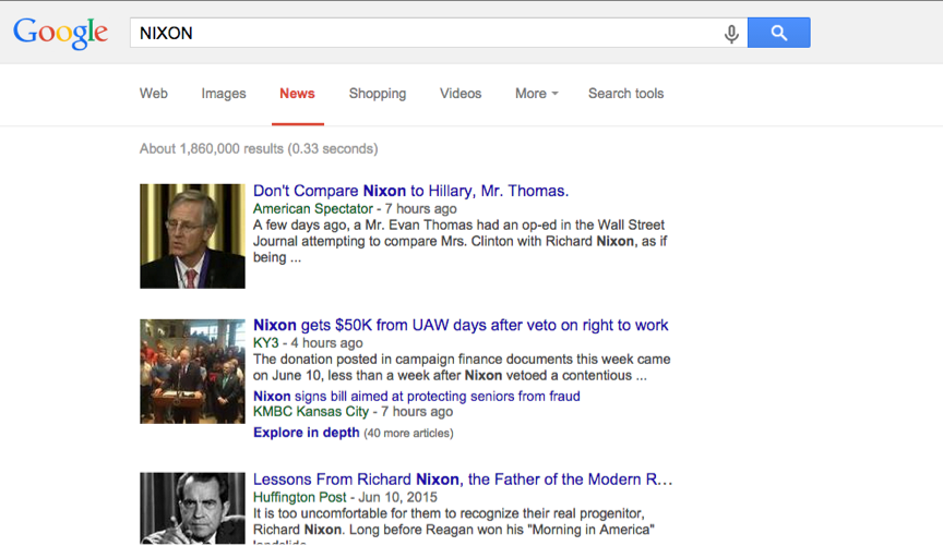Google News Search Nixon