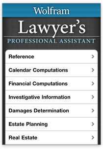 Wolfram lawyer's personal Assistant app