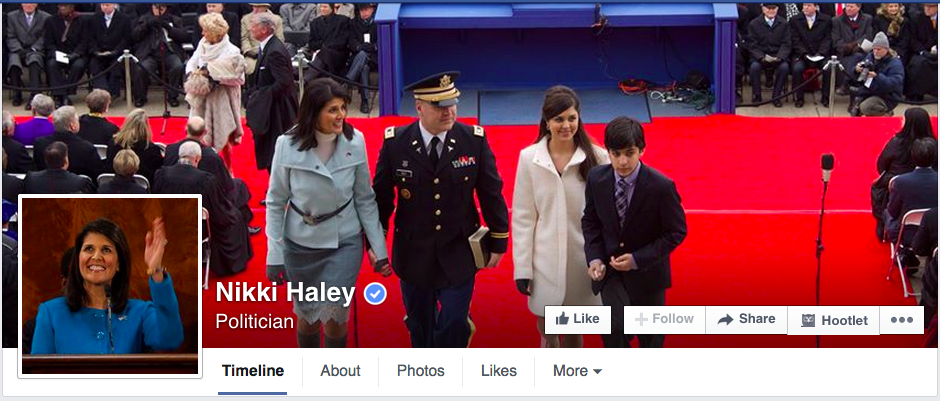 South Carolina Governor Nokki Haley on Facebook
